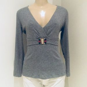 GUCCI BELTED KNIT LONG SLEEVES  TOP.